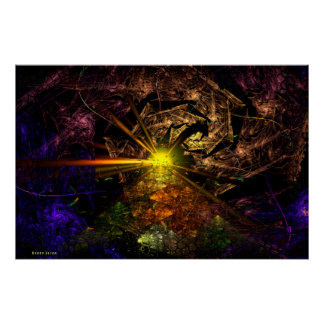 Arte del fractal de Machu Picchu 3D Póster