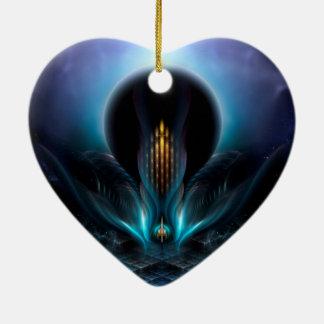 Arte del fractal de Penapia Adorno De Cerámica En Forma De Corazón