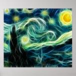 Arte del fractal de Van Gogh de la noche estrellad Posters