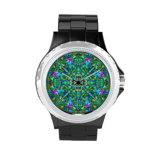 Arte del fractal del caleidoscopio de la turquesa relojes de mano