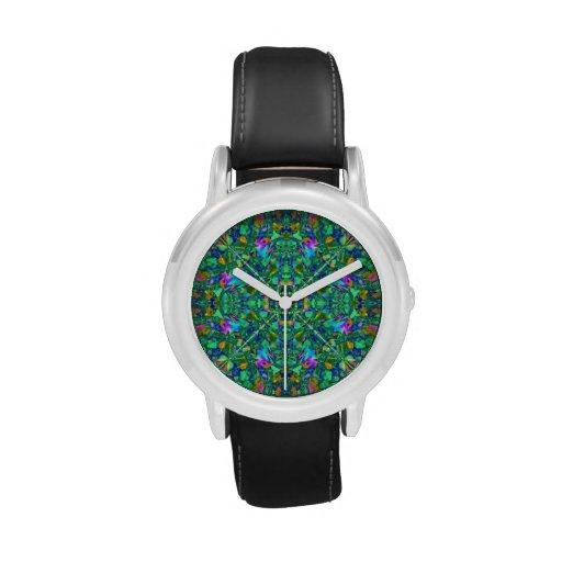 Arte del fractal del caleidoscopio de la turquesa reloj