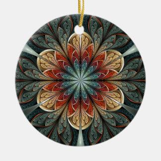Arte del fractal del extracto del jardín secreto adorno redondo de cerámica