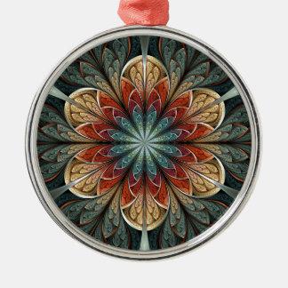 Arte del fractal del extracto del jardín secreto adorno redondo plateado