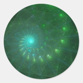 """Arte del fractal """"del gusano verde cuadrado"""" pegatina redonda"""