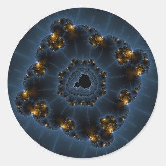 Arte del fractal del merodeador de la noche pegatina redonda