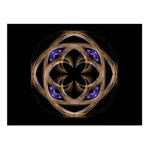 Arte del fractal del oro con los corazones azules  postales