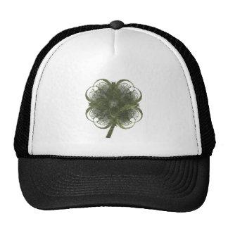Arte del fractal del trébol de cuatro hojas con el gorra