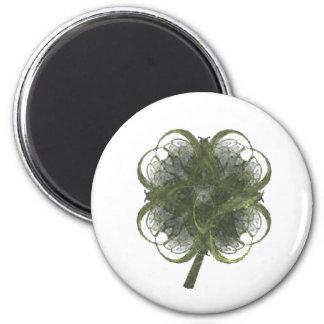 Arte del fractal del trébol de cuatro hojas con el imanes para frigoríficos