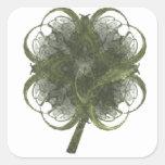 Arte del fractal del trébol de cuatro hojas con el calcomanía cuadradas personalizadas