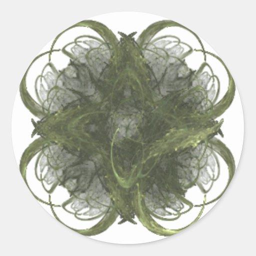 Arte del fractal del trébol de cuatro hojas pegatina redonda