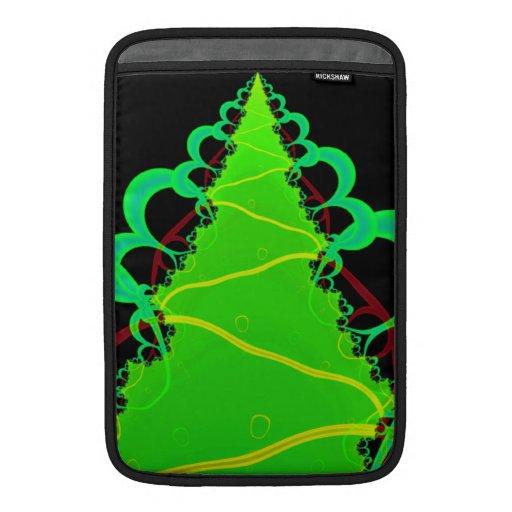 Arte del fractal en verde y negro fundas MacBook