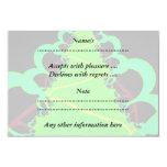 Arte del fractal en verde y negro invitación 8,9 x 12,7 cm