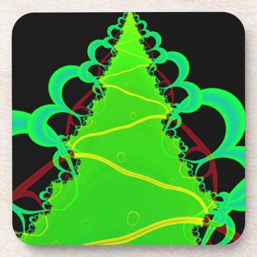 Arte del fractal en verde y negro posavasos de bebida
