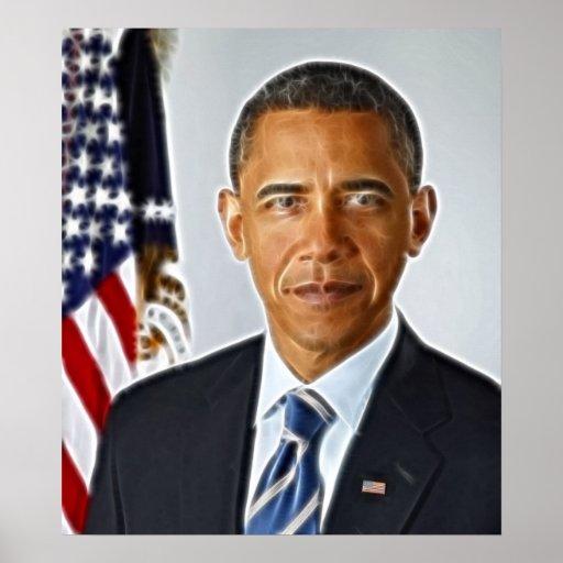 Arte del fractal, retrato oficial Barack Obama Impresiones