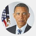 Arte del fractal, retrato oficial Barack Obama Pegatina Redonda