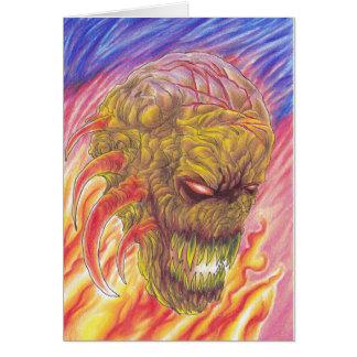 Arte del fuego del demonio tarjeta de felicitación