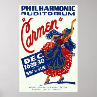 Arte del funcionamiento de Carmen del vintage Poster