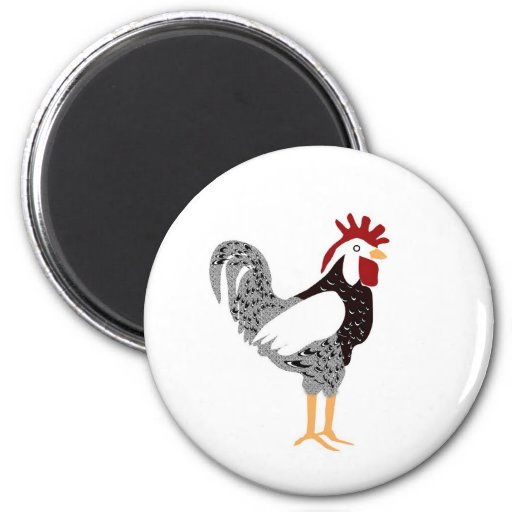 Arte del gallo: Regalos de encaje negros del pollo Iman De Nevera