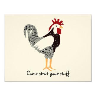 Arte del gallo: Regalos de encaje negros del pollo Invitacion Personalizada