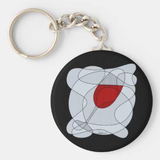 Arte del garabato de la copa de vino llavero redondo tipo pin