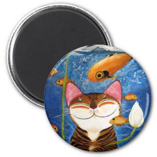 arte del gato - agua (5 elementos) iman de frigorífico