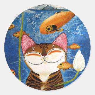 arte del gato - agua (5 elementos) pegatinas redondas