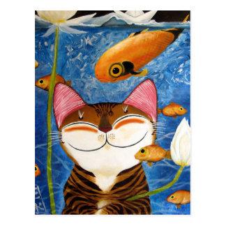 arte del gato - agua (5 elementos) tarjeta postal