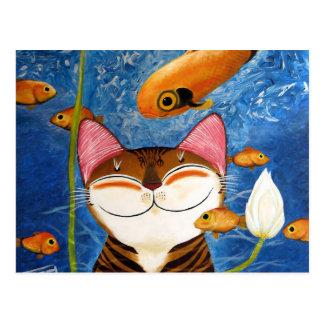 arte del gato - agua (5 elementos) postales