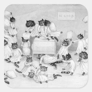 Arte del gato de Louis Wain 1900 Pegatina Cuadrada