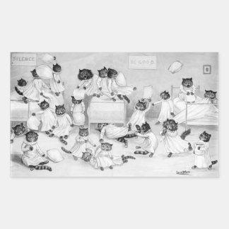 Arte del gato de Louis Wain 1900 Pegatina Rectangular