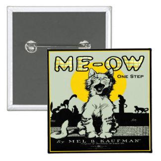 Arte del gato del maullido - vintage pin