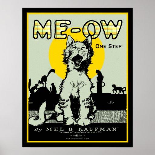 Arte del gato del maullido - vintage póster