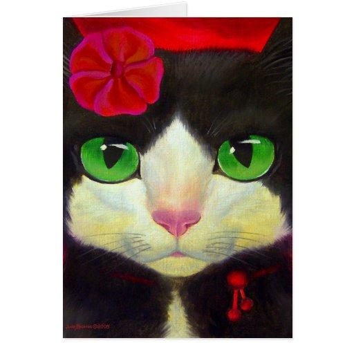Arte del gato del smoking - tarjeta de nota