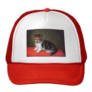 Arte del gato del vintage: Pintura del gatito de G Gorras