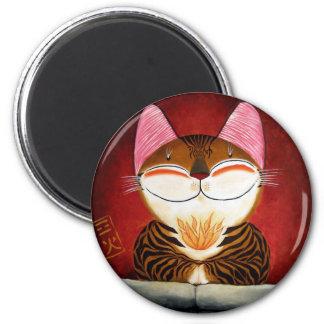 arte del gato - fuego (5 elementos) imán para frigorifico