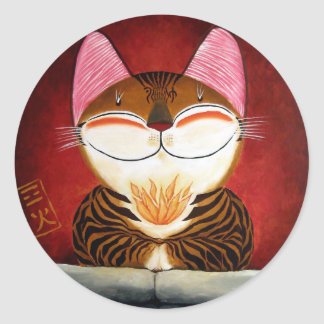 arte del gato - fuego (5 elementos) etiqueta redonda
