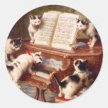 Arte del gato: Impresión del arte del vintage: El Pegatinas Redondas