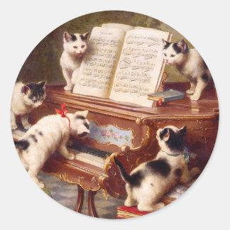 Arte del gato: Impresión del arte del vintage: El Pegatina Redonda