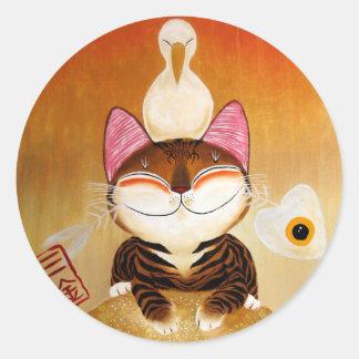 arte del gato - metal (5 elementos) pegatina redonda