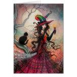 Arte del gato negro de la bruja de Halloween de la Tarjeta De Felicitación