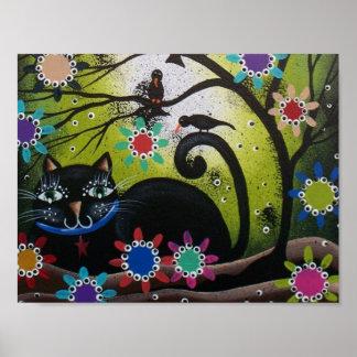 Arte del gato negro día de los muertos poster
