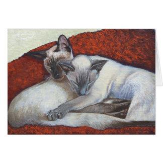 Arte del gato siamés el dormir tarjeta de felicitación