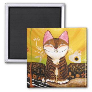 arte del gato - tierra (5 elementos) iman de frigorífico