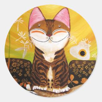 arte del gato - tierra (5 elementos) pegatinas redondas