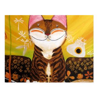 arte del gato - tierra (5 elementos) postal