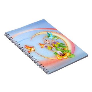Arte del gato y del pixel de los pájaros cuadernos