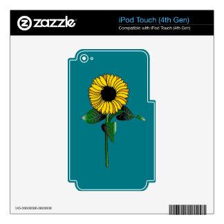 Arte del girasol en piel de la generación del iPod touch 4G calcomanías