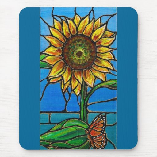 Arte del girasol y de la mariposa--¡estilo del tapetes de raton
