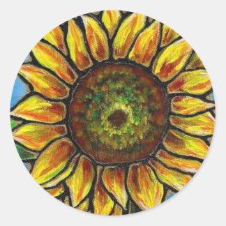 Arte del girasol y de la mariposa--¡estilo del vit pegatina redonda