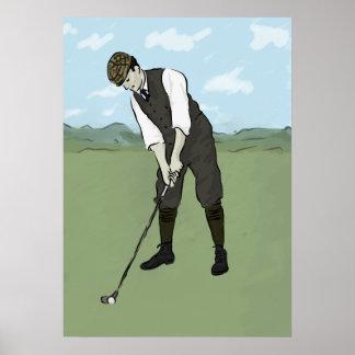 Arte del golfista V1 del vintage Póster